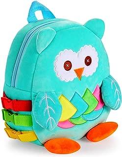 White Dolphin Toddler Backpack with Buckles, Kids Plush Bookbag, Children's Travel Activity
