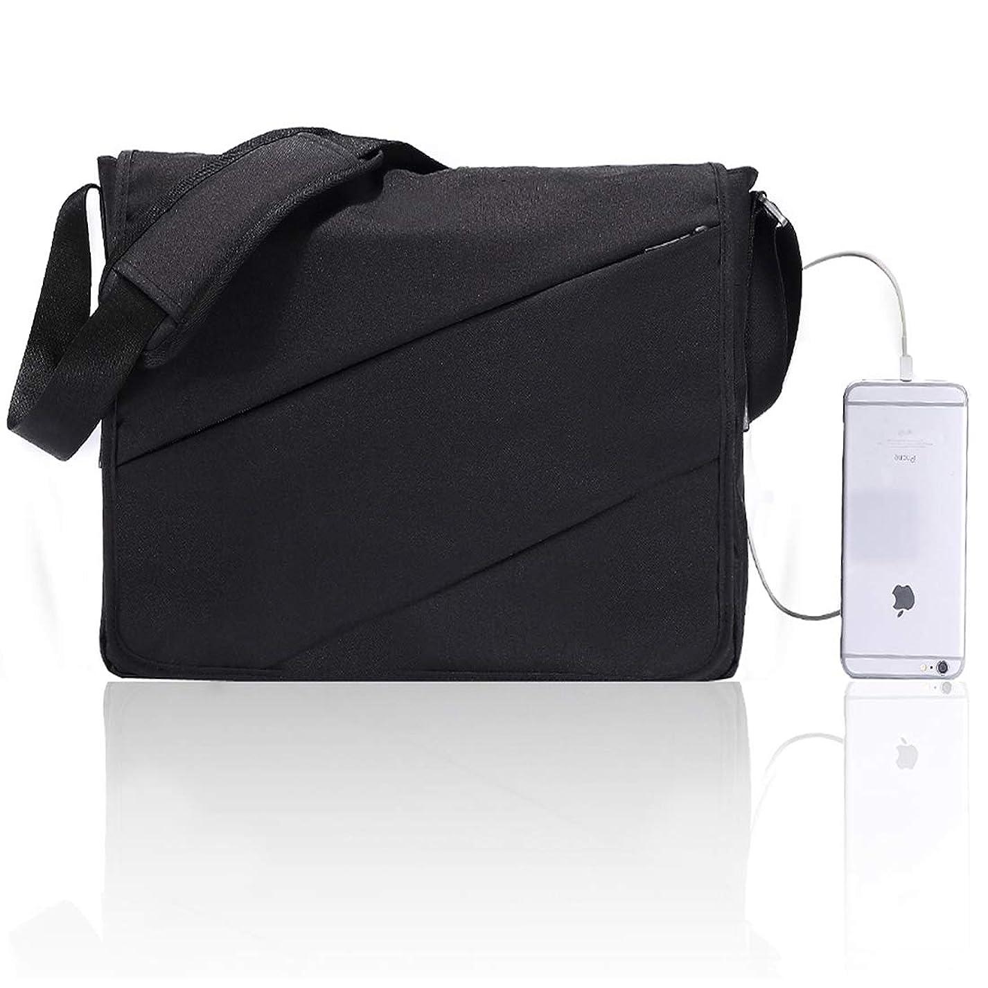 相手誇りに思う子音CHATS メンズショルダーバッグ A4ファイル対応の大容量バッグ ブラック グレー B-M-01