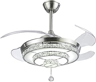 Adaskala Y42-A100BN 42 Inches Crystal Ceiling Fan Light 200-240V LED Ceiling Light Retractable Blade Adjustable Wind Speed...
