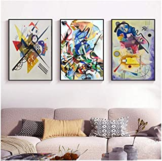 IGZAKER Vintage Triptych Famous Abstract Print Canvas Paintings Wassily Kandinsky Poster Wall Art Picture for Living Room - 60x80cmx3pcs (No Frame)