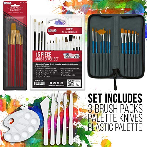 US Art Supply 72-Piece Deluxe Acrylic Painting Set with, Aluminum Floor Easel, Wood Drawer Table Easel, 24-Tubes Acrylic Colors, 9x12 Acrylic Painting Paper Pad, 6-each 8x10 Canvas Panels, 2-each 11x14 Stretched Canvases, 34 Artist Brushes, Plastic Palette with 10 Wells, Wooden Pallete & Now Includes a FREE Color Wheel -Great Student Artist Starter Set