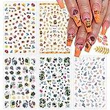 EBANKU 5 Fogli Unghie Autunnali Adesivi, Autunno Foglie di Acero Nail Stickers 3D Foglie D'acero Autunnali Decalcomanie Unghie Autoadesive per Donne Ragazze Unghie Fai-da-Te