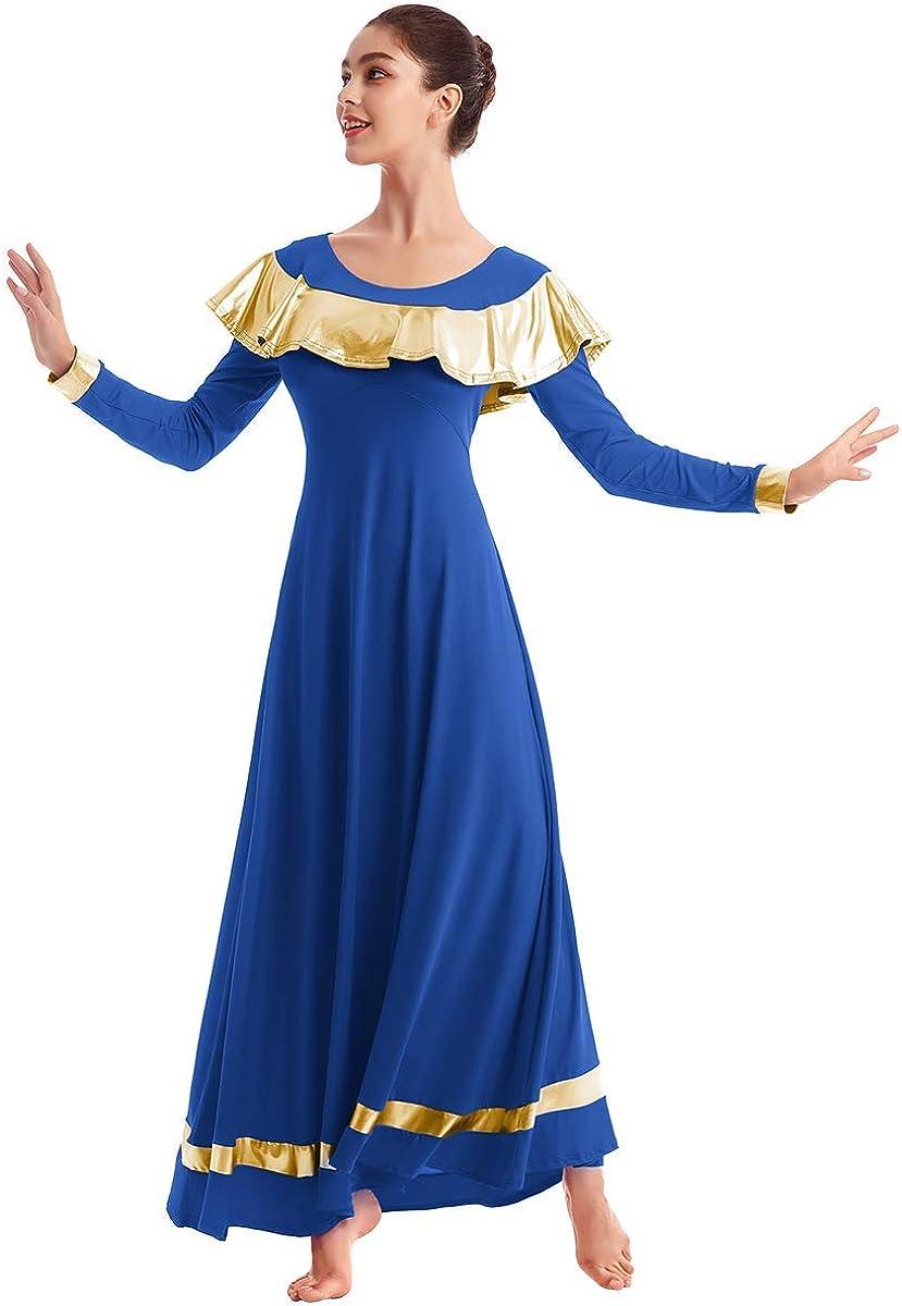 IBAKOM Womens Praise Liturgical Worship Dance Dress Ruffle Metallic Gold Color Block Loose Fit Full Length Dancewear