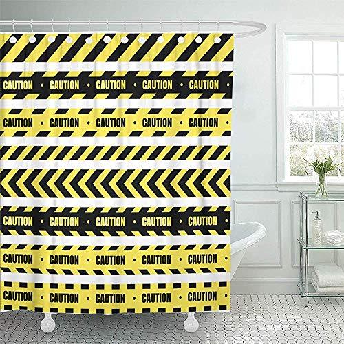 Not applicable Duschvorhang Vorsicht vor Bändern für Einschränkungen & gefährliche Zonen Gelbe & Schwarze Barriere-Duschvorhang-Sets,72X72 Zoll