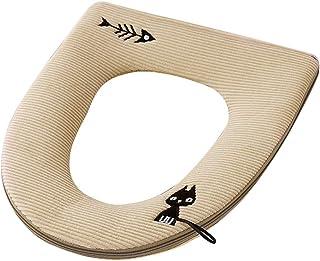Huaheng Warm Soft Toilet Cover Seat Pad Zipper Cartoon Style Toilet Closestool Seat Cover Mat
