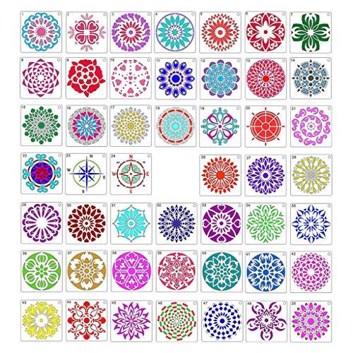 Xzbnwuviei Mandala-Malerei, Vorlage, Wandbild, DIY hohle Schablone, 48 PIS Mandala-Bleistifte, Mandala-Malvorlagen für DIY, Malerei, Kunstprojekte, Holz, Glas, Metallwände