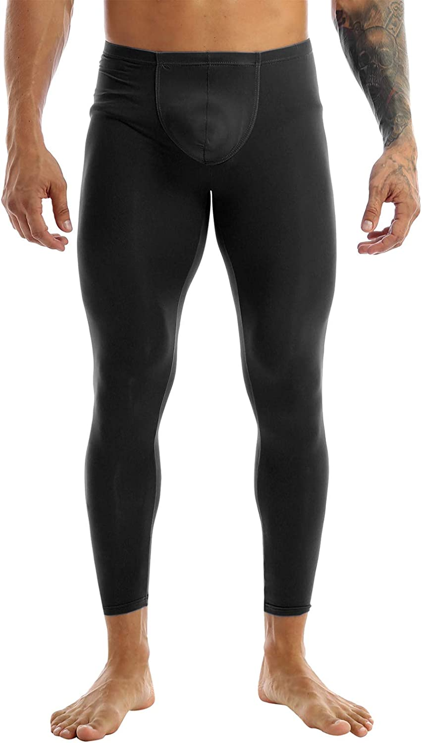 JEEYJOO Men's Soft Ice Silk Transparent Long Thermal Pants Bulge Pouch Underwear