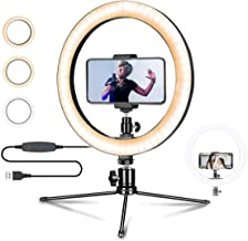 "10.2"" Selfie Ring Light with Tripod Stand, Ring of Light with Phone Holder 3 Light Modes and 10 Brightness Level for Makeup/YouTube Video/Live Stream for iPhone Android."