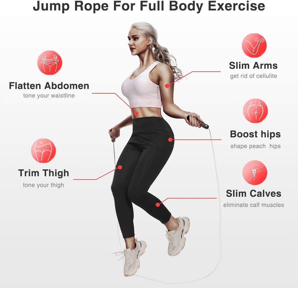 KEEPTO Jump Rope Tangle-Free Skipping Rope Adjustable Speed Ropes for Women Men Workout Exercise Ropes for Speed Training Fitness Gym Endurance Training Boxing
