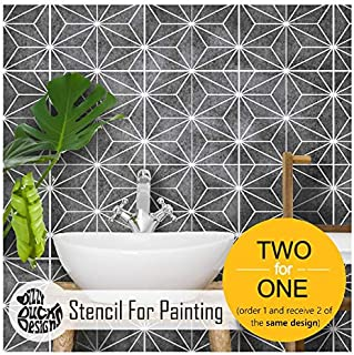 Kasai Geometric Tile Stencils for Painting Walls and Floors | Custom Sizes Available - 13 inches