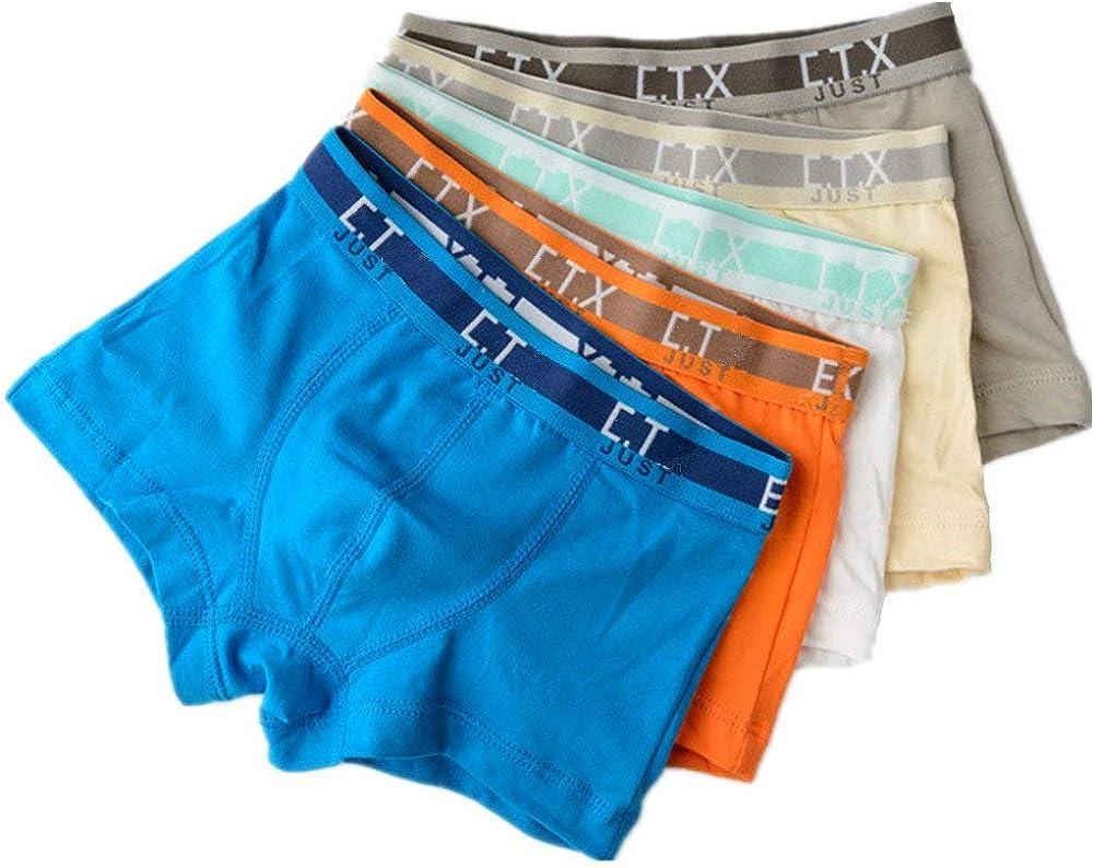 Cczmfeas Boys Solid Color Cotton Stretch Short Underwear Boxers Briefs 5 Pack