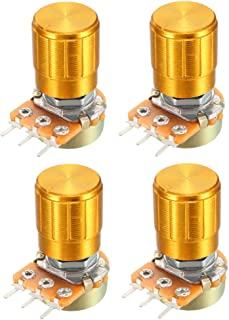 uxcell® 4 Pcs 10K Ohm Variable Resistors Single Turn Rotary Carbon Film Taper Potentiometer with Knobs