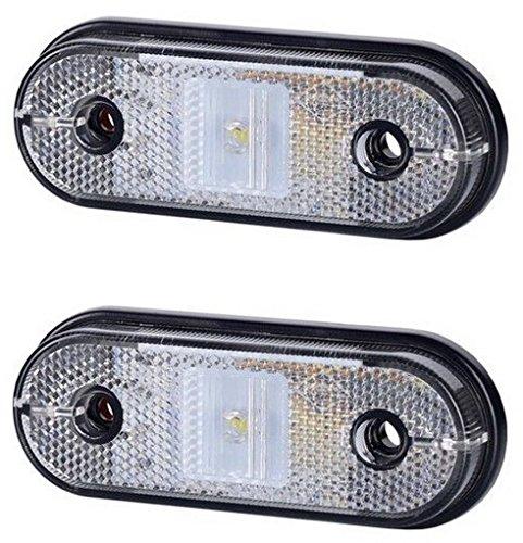 Preisvergleich Produktbild 2 x 1 SMD LED Weiß Begrenzungsleuchte Seitenleuchte mit Reflektor 12V 24V E-Prüfzeichen Positionsleuchte Auto LKW PKW Lampe Leuchte Licht Paar Set