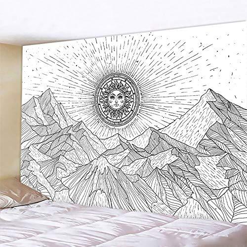 PPOU Tapiz de Luna en Blanco y Negro Mandala Colgante de Pared Hippie Manta para el hogar Fondo de Mandala Manta de Tela para Colgar A5 100x150cm