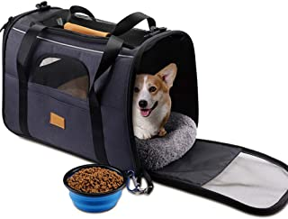Pet Carrier Airline Approved Soft Sided for Cats and Small Dogs Portable Cozy Travel Pet Bag with Collapsible Pet Bowl