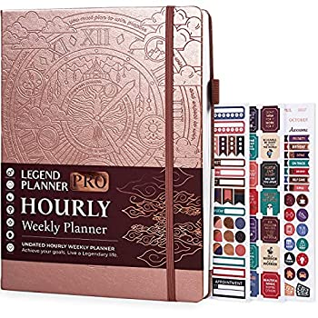 Legend Planner PRO Hourly Schedule Edition - Deluxe Weekly & Daily Organizer with Time Slots Time Management Appointment Book Journal for Work & Personal Life Undated A4 Size Hardcover - Rose Gold