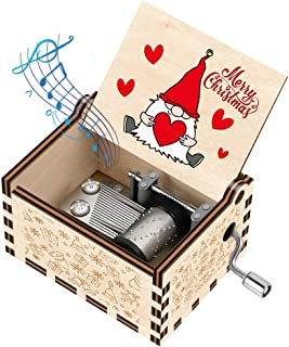 Best Officygnet Christmas Music Boxes Gifts for Kids/Girlfriend/Woman/Daughter/Wife/Boys/Girls, Gnome Santa Hand Crank Wooden Music Box for New Year/Holiday/Birthday/Christmas Party Gifts(Wood-Colorful) Review