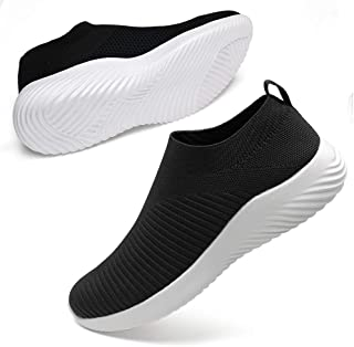 DUOYANGJIASHA Women's Walking Shoes Fabric Breathable Slip On Sports Tennis Athletic Running Mesh Breathable Lightweight Sneakers