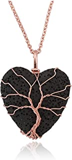 Top Plaza Tree of Life Wire Wrapped Heart Pendant Necklace Lava Rock Stone Essential Oil Diffuser Aromatherapy Necklaces Jewelry for Women Men - Black