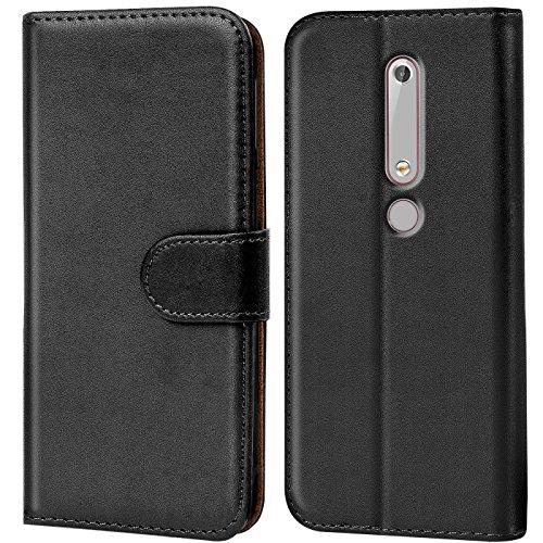 Conie Handyhülle für Nokia 6.1 Hülle, Premium PU Leder Flip Hülle Booklet Cover Weiches Innenfutter für 6.1 Tasche, Schwarz