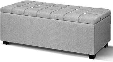Artiss Fabric Storage Ottoman Bench Light Grey, 97(L) x 41.5(W) x 37(H)