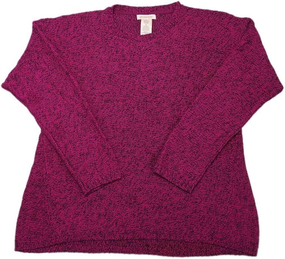 philosophy Womens Long Sleeve Pullover Sweater, Royal Magenta/Black