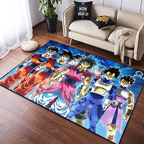 MBTGXX Alfombra de Anime Dragon Ball Z Goku 3D Rectángulo Sala de Estar Dormitorio Alfombra de Felpa de Cristal Alfombra de Yoga Antideslizante/Guardería de bebés Anime Niños (50x80cm/19.6x31.4in)