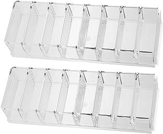 Kesoto コンパクトパウダーケースホルダー8仕切り 2個入り 透明 化粧品収納 机整理