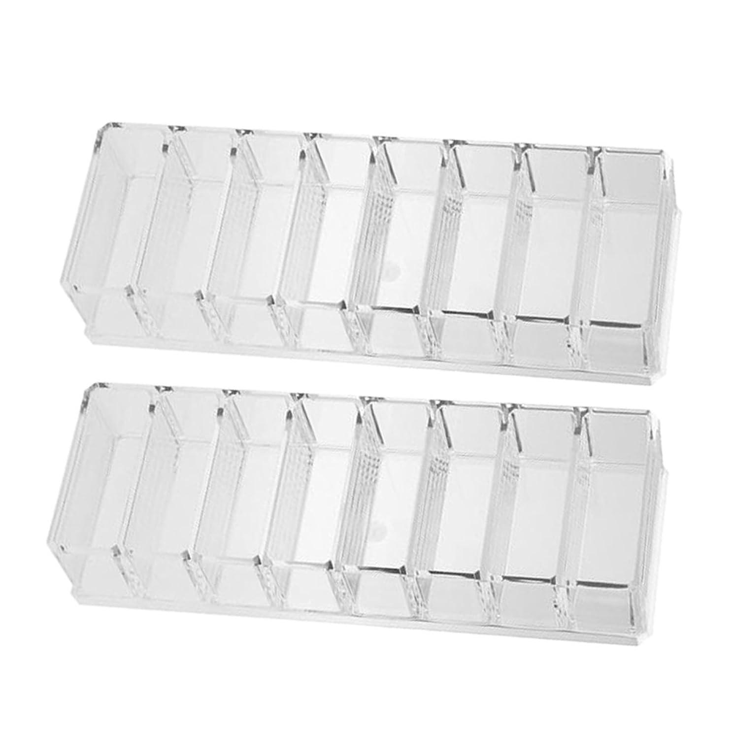 レパートリー味方ミュートKesoto コンパクトパウダーケースホルダー8仕切り 2個入り 透明 化粧品収納 机整理
