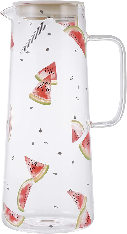 Lurrose Jarra de Agua de Cristal con Mango de Tapa Resistente Calor Patrón de Sandía Agua Fría Jarra de Agua Hervidor de Té para Jugo de Hielo Té de Bebida 1. 5L