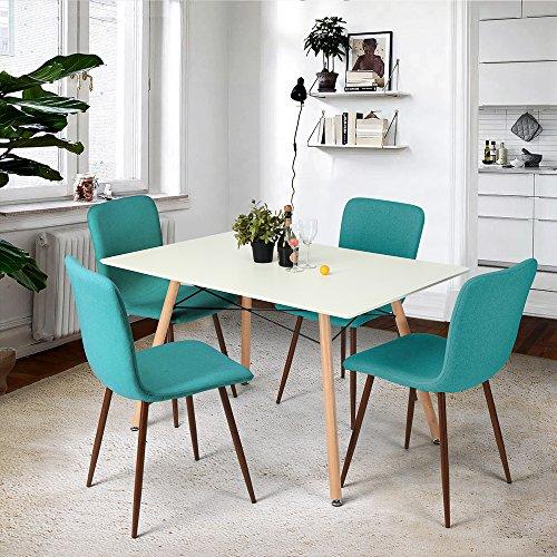 FITATHOME Fit@Home Table à Manger Blanche Rectangulaire MDF Bois Scandinave Design Salle à Manger Cuisine