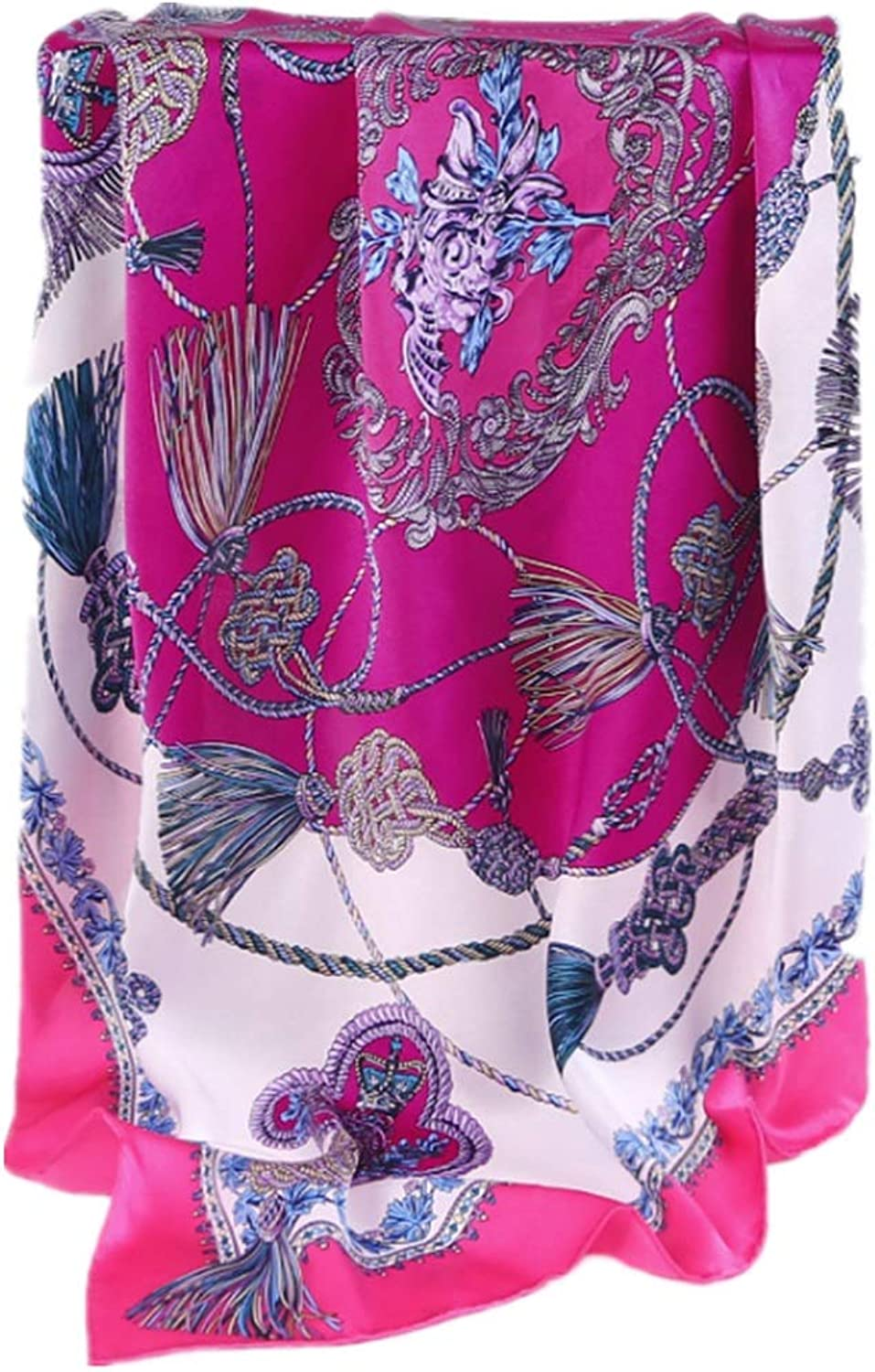 Women's Silk Scarf Spring and Summer Silk Silk Big Square Scarf Classic Chain Silk Scarf European and American Gifts for Ladies (color   Purple)