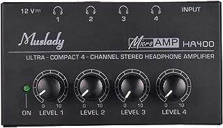 Muslady Amplificador de Auriculares de Audio Estéreo 4 Canales Mini Ultra Compacto con Adaptador de Corriente
