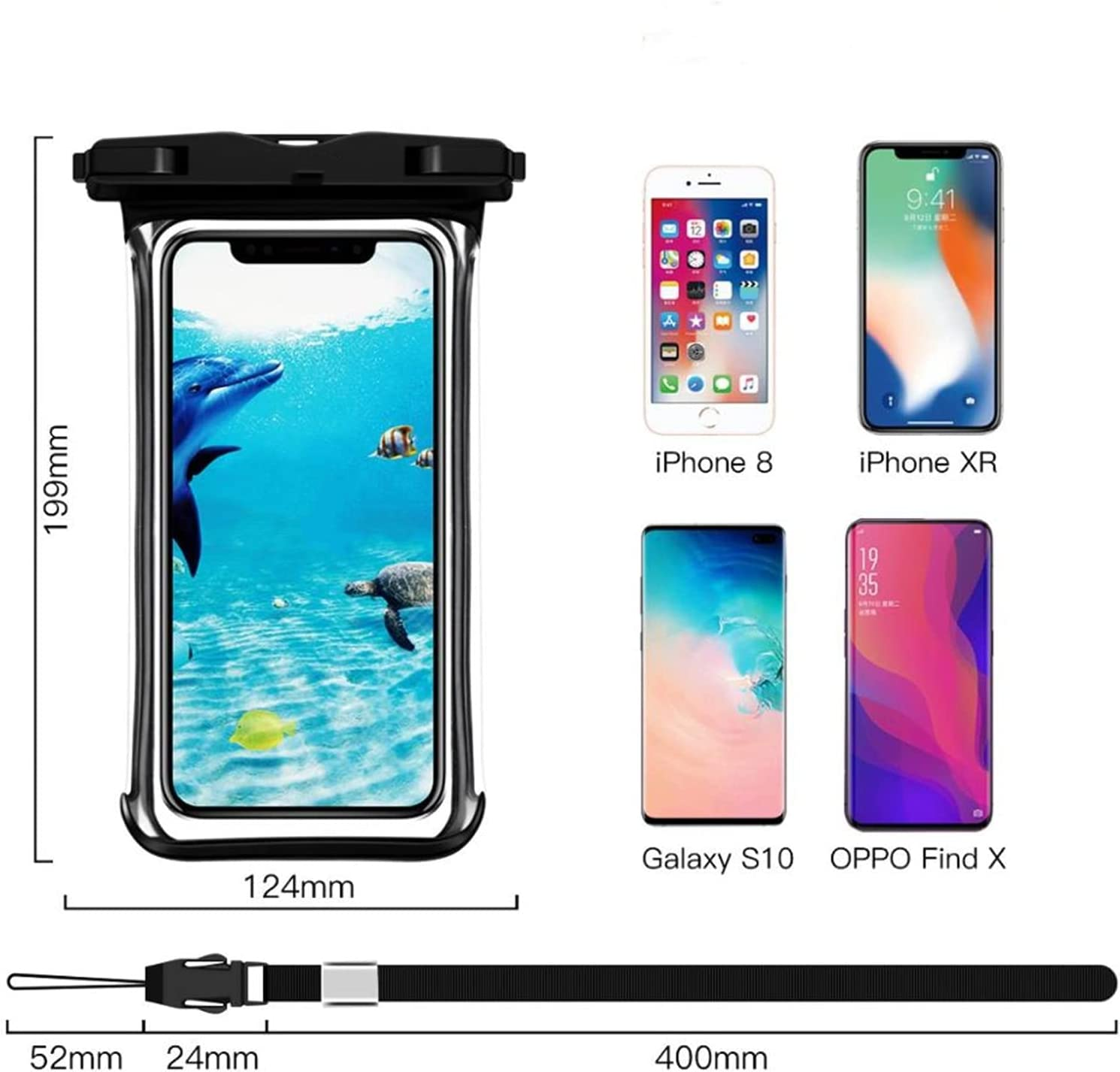 Full View Waterproof Case for Phone Underwater Snow Rainforest Transparent Dry Bag Swimming Pouch Big Mobile Phone Covers-2pcs Green Case