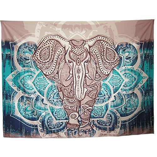 "Mofeng Queen Size Bohemian Mandala Elephant Home Decor Wall Hanging Decoration Yoga Mat Tapestry Cloth Beach Blanket, 79"" x 59"""
