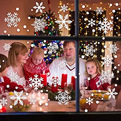 Garma 428pcs White Snowflakes Window Decorations Clings Decal Stickers Ornaments for Christmas Frozen Theme Party New Year Supplies