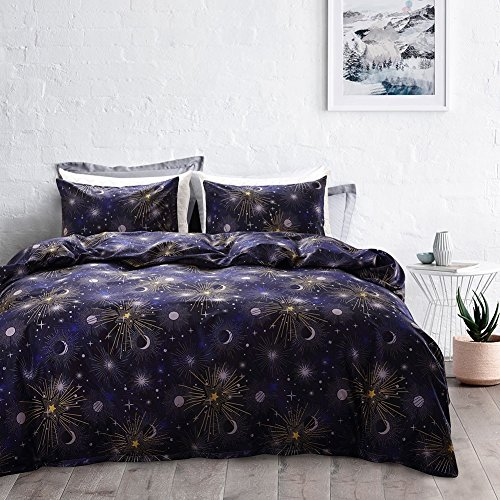 XL- Literie 3 pièces Lit Univers Galactique Couette Microfibre Quilt Taie D'oreiller Décoratif 3 Pièce Ensemble De Literie Multicolore (Couleur : Galaxy series, taille : TWIN)