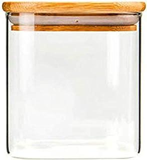 550 ml szklany szczelny słoik do przechowywania, kuchenny pojemnik na żywność z bambusową pokrywką, silikonowy pierścień u...