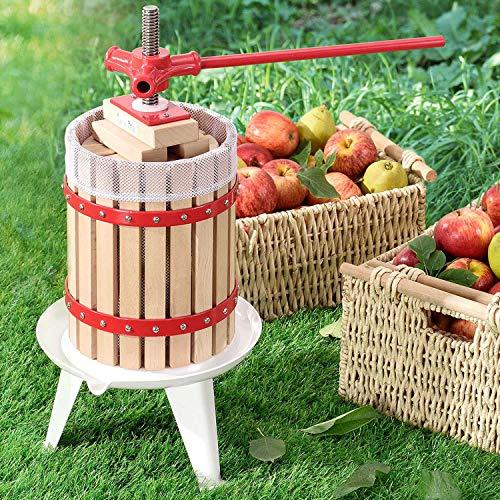 Juskys Mechanische Saftpresse Juicy 6 Liter mit Presstuch | Holz | manuell | Obst, Beeren & Früchte | Obstpresse Weinpresse Beerenpresse