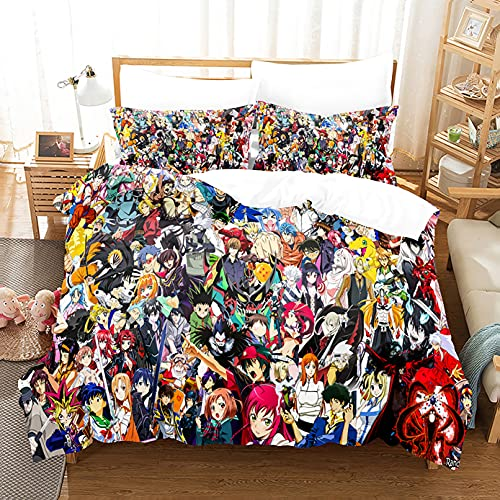 Anime Character Collection Duvet Cover Set Bedding Set Comforter Cover Lightweight Breathable for Kids Boys Queen:9090IN C-01