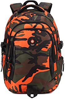 NSHUN School Backpack for Boys Girls | Durable Canvas Material Bookbag for Elementary Junior Middle & High School (Color : Orange, Size : L)