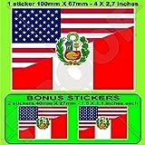 USA Vereinigte Staaten von Amerika und PERU, Amerikanisch und Peruanische Staats Flagge, Fahne 100mm Auto & Motorrad Aufkleber, Vinyl Sticker x1+2 BONUS