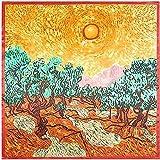 YDMZMS 90x90cm Primavera Nuevo Paisaje Pintura al óleo Imitación Bufanda de Seda Bufanda de Mujer Neckerchief Bandana Plaza Grande Office Lady Regalo 90x90cm Amarillo