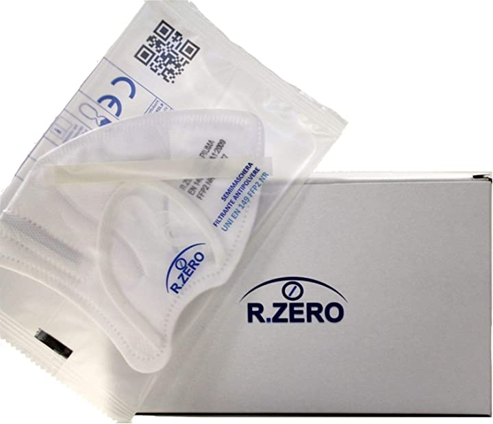 mascherine ffp2 made in italy/ 25 pezzi con marchio ce protettive/capacità filtrante >94%/5 strati r.zero b08svzv11n