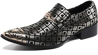 YIZHIYA Chaussures en Cuir Pointues pour Hommes,Chaussures d'uniformes habillées Homme en Cuir de Vachette en Cuir véritab...
