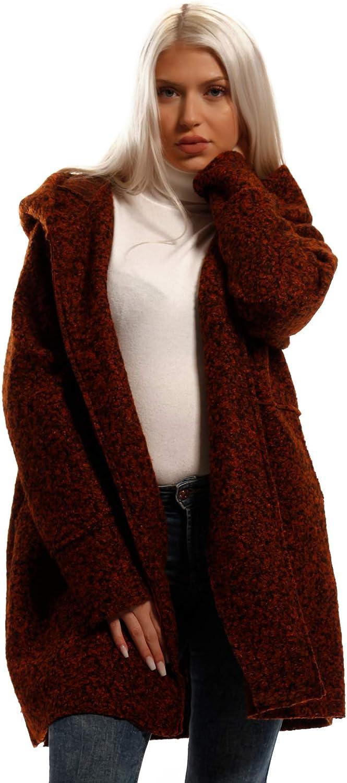 YC Fashion & Style Damen Kurzmantel Bouclé mit Schalkapuze Brit Chic Mantel Herbst Winter Jacke Freizeit Outerwear Braun / Bouclé