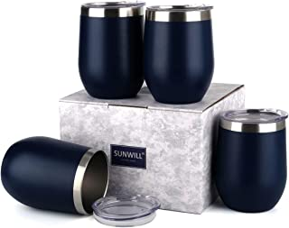 SUNWILL Insulated Wine Tumbler with Lid Navy Blue 4 pack, Double Wall Stainless Steel Stemless Insulated Wine Glass 12oz, Durable Insulated Coffee Mug, for Champaign, Cocktail, Beer, Office