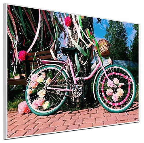 Ecowelle Calefacción por infrarrojos con imagen | 500 W | 60 x 80 cm | calefacción por infrarrojos | fabricado en Alemania | perfil de aluminio blanco | i 178 bicicleta