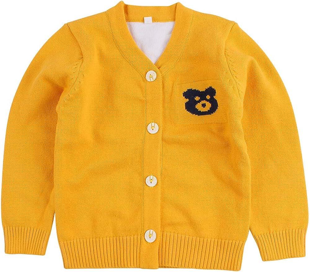 Cotton Bear Knit Baby Sweater Vest Sleeveless V-Neck Infant Boys Sweater Casual Newborn Girls Sweater Spring Autumn