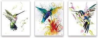Lot de 3 Abstrait Affiche Aquarelle Oiseau–Colibri Et Fleurs Impressions D'art–Colorés Animaux Art Posters–Moderne Toile M...